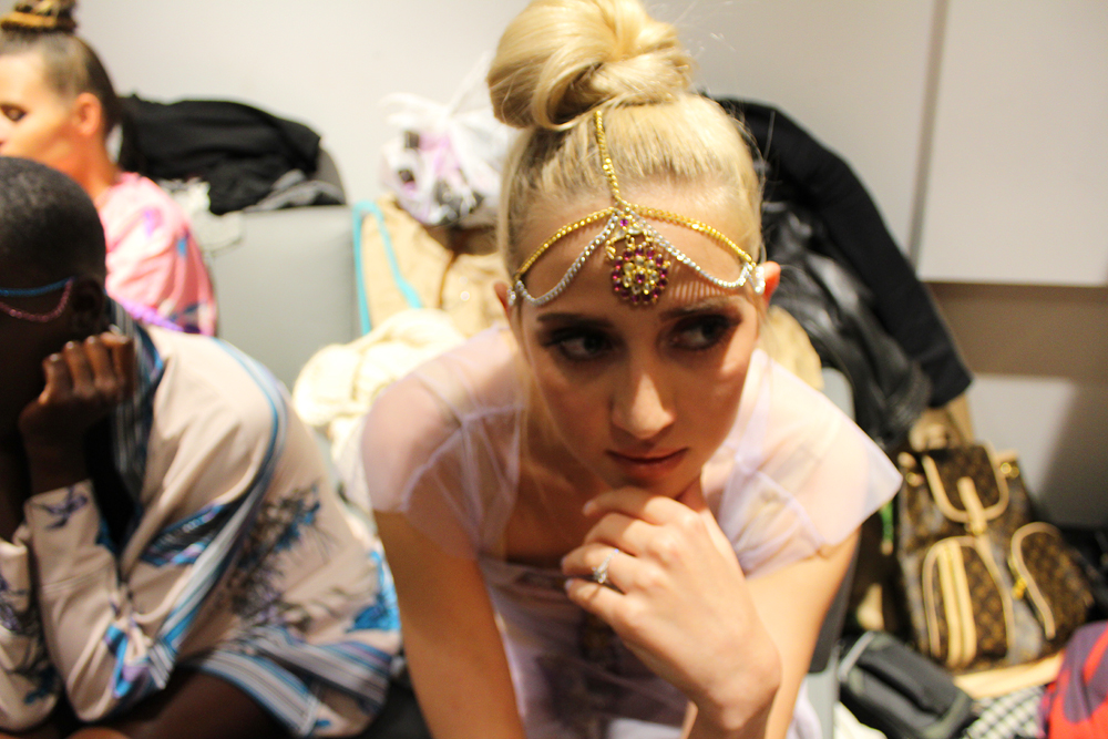 Bombay Mermaid fashion brand - backstage - sisters on the runway NYC - Hey Mishka 3