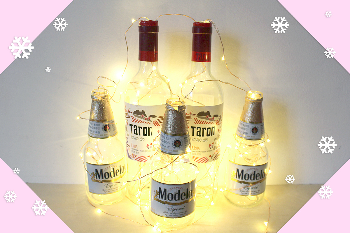 DIY holiday centerpiece! Boozy holiday Decor- Christmas DIY - Hey Mishka