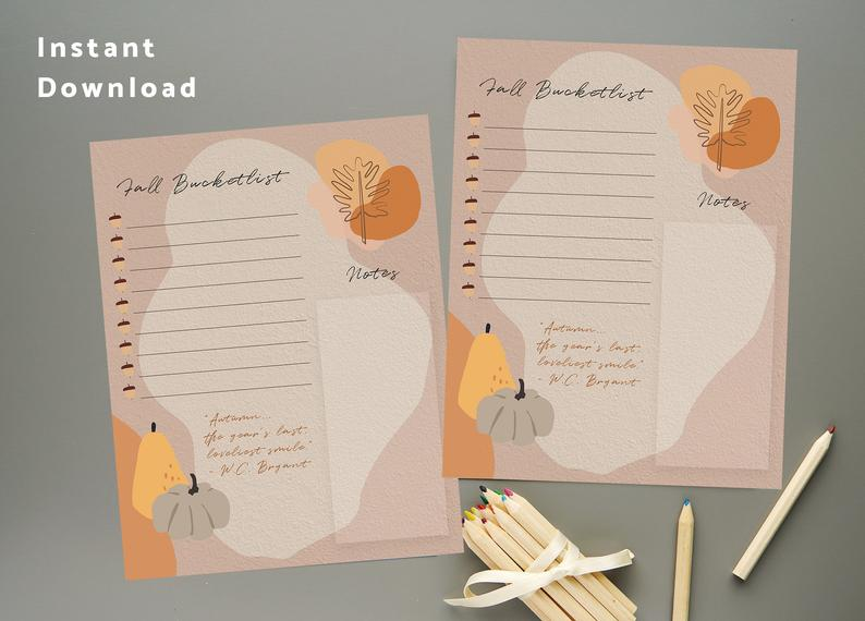 Fall Bucket List Modern Aesthetic Autumn Planner Page - Instant Download Printable PDF